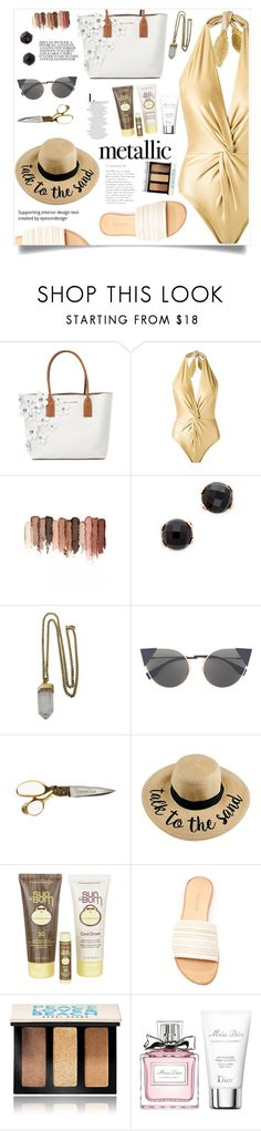 """You're Golden: Metallic Swimwear"" by violet-peach ❤ liked on Polyvore featuring Marc Jacobs, Martha Medeiros, tarte, Bronzallure, Lacey Ryan, Fendi, Sun Bum, Bobbi Brown Cosmetics, Christian Dior and metallicswimwear"