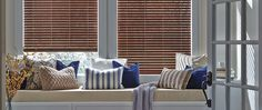 Made from premium-grade polystyrene slats, Hunter Douglas EverWood TruGrain alternative wood blinds offer a natural look, ideal for heat and high-moisture areas. Fabric Roller Shades, Faux Wood, Horizontal Blinds, Blinds For Windows, Woven Wood Shades, Wood Blinds, Blinds, Wooden Window Blinds, Manufactured Home Remodel