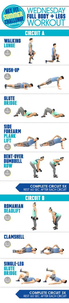 Click here for more complete instructions for Wednesday's workout including animated GIFs of each move and tips on form.