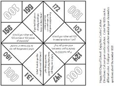 Here's a fun little cootie catcher for the 100th day of school.