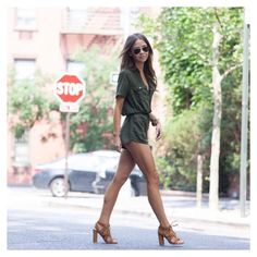 Stylebaby - Khaki Playsuit Picks Khaki Playsuit Tan Heels Pic via Bridgethelene Instagram