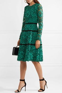 Lela Rose - Grosgrain-trimmed Corded Lace Dress - Jade