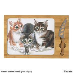 kittens cheese board rectangular cheeseboard