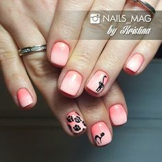 Cats. Gel polish with design. Ombre