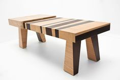 confusion tables made from scrap wood, veneer and formica.