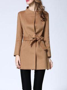 Khaki Plain Pockets Long Sleeve Coat