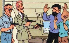 A panel from The Adventures of Tintin showing some of the antagonists of the series. Pictured are: Hans Boehm and Spalding, as well as Captain Haddock and ...