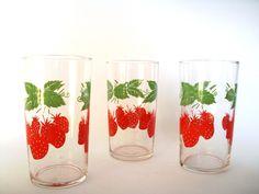 Set of 3 Adorable Vintage Strawberry Glasses. $12.00, via Etsy.