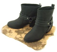 Vegan Ankle Harness Boots. 100% animal free. This trendy vegan slip-on harness boot gives an edge to any look!