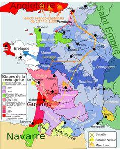 Carte du royaume de France lors de la première phase de la guerre de Cent Ans 1364 - 1380