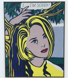 #RoyLichtenstein... I'm Sorry!,1965-66 Oil and Magna on canvas, 60 x 48 inches. Painting features portrait of Pop Art Gallerist and Collector, Holly Solomon.  Collection The Broad Museum, CA