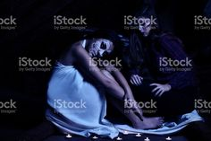 Two girls with creative make up for the Halloween royalty-free stock photo