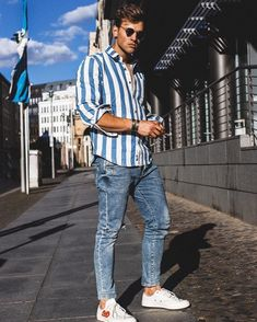 34 Best Casual Outfit Idea for Men In Spring 2019 - Men's Fashion Ideas - Outfits Hombre Casual, Simple Casual Outfits, Men Casual, Striped Outfits, Funky Outfits, Casual Winter, Comfy Casual, Stylish Men, Casual Wear