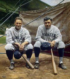 "Baseball Art - ""Buster and the Babe"" by Graig Kreindler Go Yankees, New York Yankees Baseball, Baseball Art, Baseball Photos, Basketball Pictures, Sports Photos, Baseball Movies, Baseball Stuff, Babe Ruth"