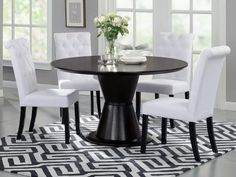 """Beverly Hills ORBIT Dining Table - ROUND TABLE IN WENGE. Dimensions:  53"""" x 30""""."""
