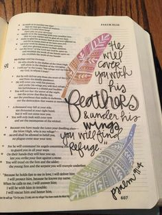 Artistic bible journaling feathers