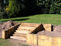 Daniel and Nicola's landscaping with new oak railway sleepers,  Photo 5