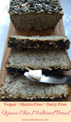 Cook with Renu: Quinoa Chia Multiseed Bread (Vegan ~ Gluten Free ~ Dairy Free) #BreadBakers