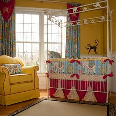 Not quite executed as I would like and def NO clowns, but this is a pretty cute circus nursery.