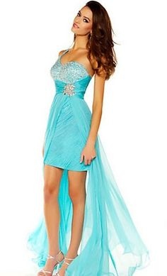 One Shoulder High-low Skirt And Beading Bodice Blue Chiffon Prom Dresses   P288071