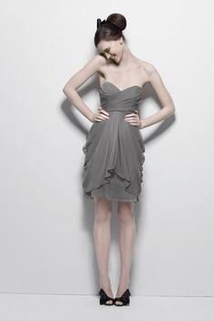Watters 7594 - Maid of Honor dress; gray bridesmaid dress