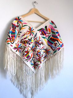 Handembroidered Poncho Huipil Available in white by ArteOtomi, $159.00