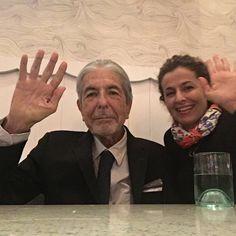 Leonard Cohen and Kezban Ozcan, his personal assistent. October 17, 2016. Los Angeles