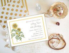 Sunflower Invitation Floral Birthday by PaperHabitStudio on Etsy