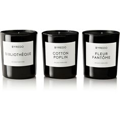 Byredo Bibliothèque, Cotton Poplin and Fleur Fantôme set of three mini candles featuring polyvore, home, home decor, candles & candleholders, candles, fillers, accessories, other, black, black candles, patchouli scented candles, handmade home decor, fragrance candles and peony scented candle