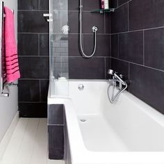 tlles  Charcoal and white bathroom | Bathroom decorating | Style at Home | Housetohome.co.uk