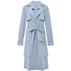 Suno Blue Layered Coat ($990) ❤ liked on Polyvore featuring outerwear, coats, blue, coats & jackets, moda operandi, suno new york, blue coat, tie belt, blue trench coat and trench coat