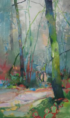 "Contemporary Abstract Landscape Art Painting ""Forest Secrets"" by Intuitive Artist Joan Fullerton Abstract Landscape Painting, Landscape Art, Landscape Paintings, Landscapes, Abstract Trees, Abstract Painters, Art Paintings, Abstract Art, Tree Art"