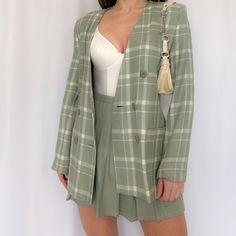 vintage windowpane plaid blazer and mini skirt suit. - Depop vintage windowpane plaid blazer and mini skirt suit set. Blazer Outfits, Plaid Blazer, Plaid Outfits, Cute Casual Outfits, Skirt Outfits, 6th Form Outfits, Look Fashion, Fashion Outfits, Skirt Suit Set