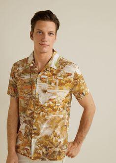 Island Outfitters BIG /& TALL Beige Tropical Palm Print Shirt à Manches Courtes