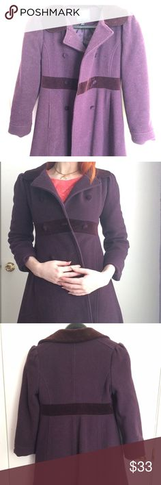 """Vintage petite 1950s-60s wool peacoat A purple Russian princess style peacoat with a velvet collar and waistband. Cropped sleeves and very petite, small fit. Empire waist. Great condition. My measurements for reference: 32-27-39 (inches), US size 6, 5'7"""". Jackets & Coats Pea Coats"""