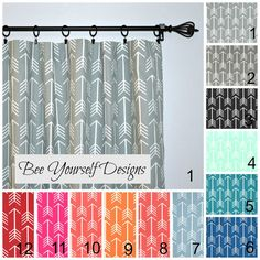 Pair of Rod Pocket Curtain Panels in your choice of color - featuring Premier Prints Arrow  Each set includes 2 curtain panels  Can be hung on