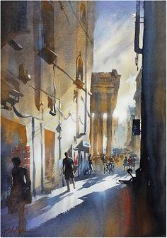 "thomas w schaller – Google+""Via del Seminario - Rome"" #watercolor-painting #watercolor #watercolour #art #landscape #architecture #urban #paintingart Thomas W Schaller - Watercolor. 22x15 Inches 14 August 2015"