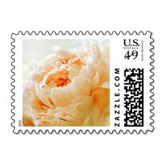 Personalizable / customizable, peach peony postage stamps can be ordered as is (without text) or customized with your own text, couple's names, special date, etc. in your favorite font(s) and colors. Available horizontal or vertical, in a variety of postage denominations, and matching items (invitations, stickers, favors, etc). #peonies #stamps #peony #peach