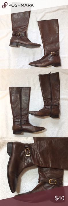 "Talbots Brown Leather Knee High Boots Talbots Brown Leather Knee High Boots. In good condition, with some wear marks on leather. Size 7  B measures: 16"" tall, 1"" heel, 15"" around the calf. Has an inside zip close for better fit. 100% leather. Made in Brazil. 219/700/103017RL2 Talbots Shoes Winter & Rain Boots"