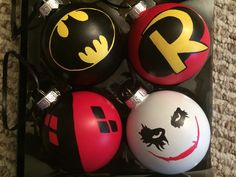 Superhero Ornaments Batman Robin Harley Quinn Joker Set of 4 Hand Painted Ornaments by KaleyCrafts on Etsy https://www.etsy.com/listing/249136913/superhero-ornaments-batman-robin-harley