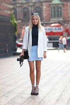 Stilettos & Socks. Street Style Copenhagen Fashion Week Spring 2014 - Copenhagen Street Style - Harper's BAZAAR