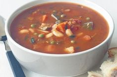 This hearty soup is full of healthy vegetables and beans.
