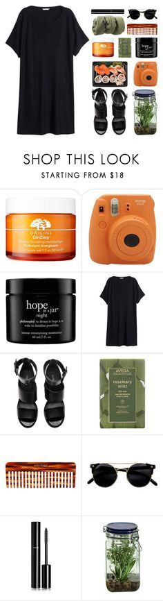"""//The future looks good//"" by the-key-to-my-heart ❤ liked on Polyvore featuring Origins, Fujifilm, philosophy, H&M, Aveda, Mason Pearson, Chanel and Alöe"