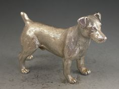 Contemporary Scottish Cast Silver Model Jack Russell Terrier