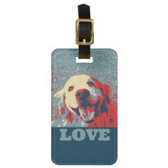 Golden Retriever Stylized Love Travel Bag Tags by #AugieDoggyStore