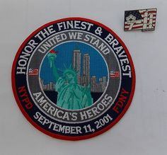 Honor the Finest & Bravest FDNY NYPD 9-11 memorial patch and lapel pin set – NEW