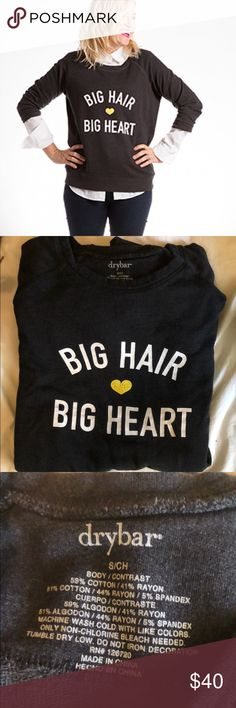 DryBar Limited Edition Raglan Pullover Big Hair Big Heart DryBar Sweatshirt - super limited edition - not sold anywhere now. Size S. Some cracks on heart. drybar Tops Sweatshirts & Hoodies
