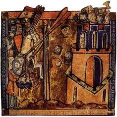 Cruzados lanzando cabezas decapitadas durante el asedio a la ciudad de Nicea en 1097