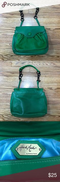 """Hand Maid by Michelle Frantz purse Bright green leather purse. Has some wear but still very cute. 13.5"""" x 10"""". 18"""" tall with strap included. Michelle Frantz Bags"""