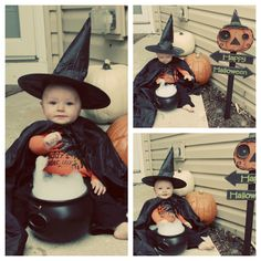 Halloween baby photos witch - plastic cauldron, cheap witch hat and cape all from good will, add dish soap and enough water until bubbles are over flowing and watch baby play!